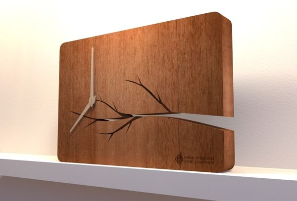 Wooden Clock for Bank Constanta by Davit Chipashvili, via Behance