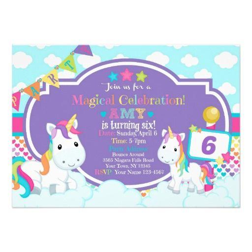 """Invitación 5"""" del cumpleaños del unicornio x 7"""""""
