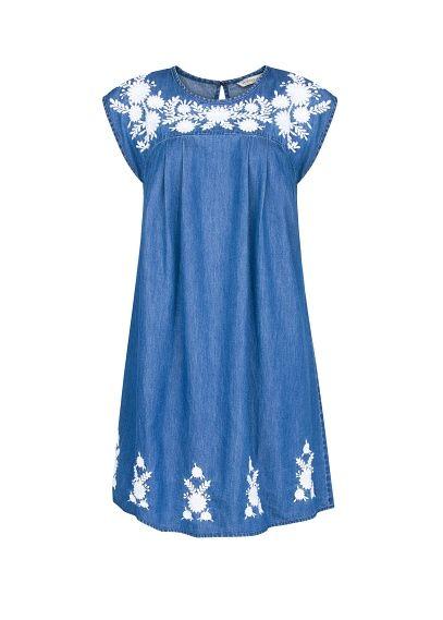 MANGO - Embroidered flowers denim dress