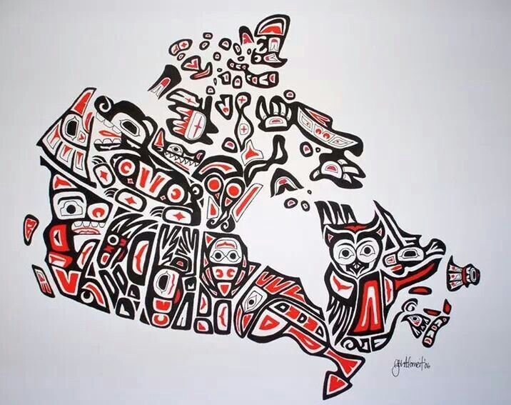Our Home and Native Land - Canadian First Nations Style Art Map of Canada