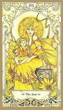 """(11-14-2014) The sun {Mystic Faery tarot by Linda Ravenscroft} : """"The support you have is solid as stone and will nurture you into success. The blood you have spilt has not been for naught. And out of the struggle has been born a gift that will always be yours to treasure. Let your light shine brightly and lead the way for those who are still in the darkness."""" ~springwolf.net"""