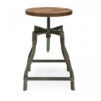 45cm Rustic Gun Metal Swivel Stool With Elm Wood Seat - from Cult Furniture UK
