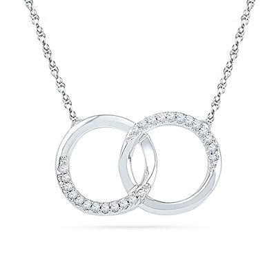 1/10 CT. T.W. Diamond Interlocking Circles Necklace in 10K White Gold