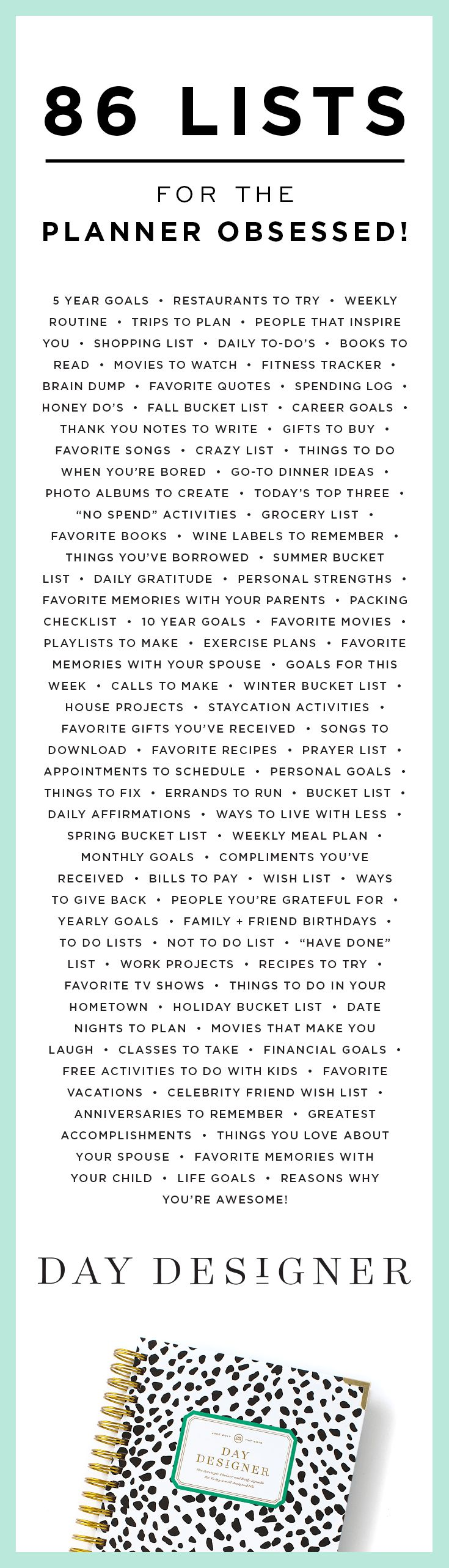 ...86 Lists For The Planner Obsessed | Day Designer