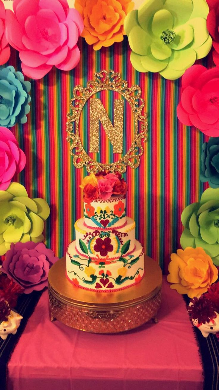 Cake my friends brother in law made. Backboard made by my friends and I. Mexican Fiesta Baby Shower.