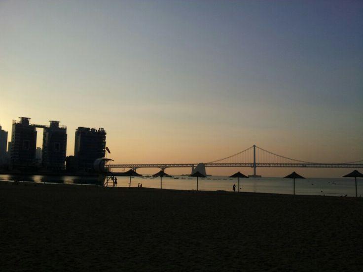 early morning at gwanggali beach busan korea