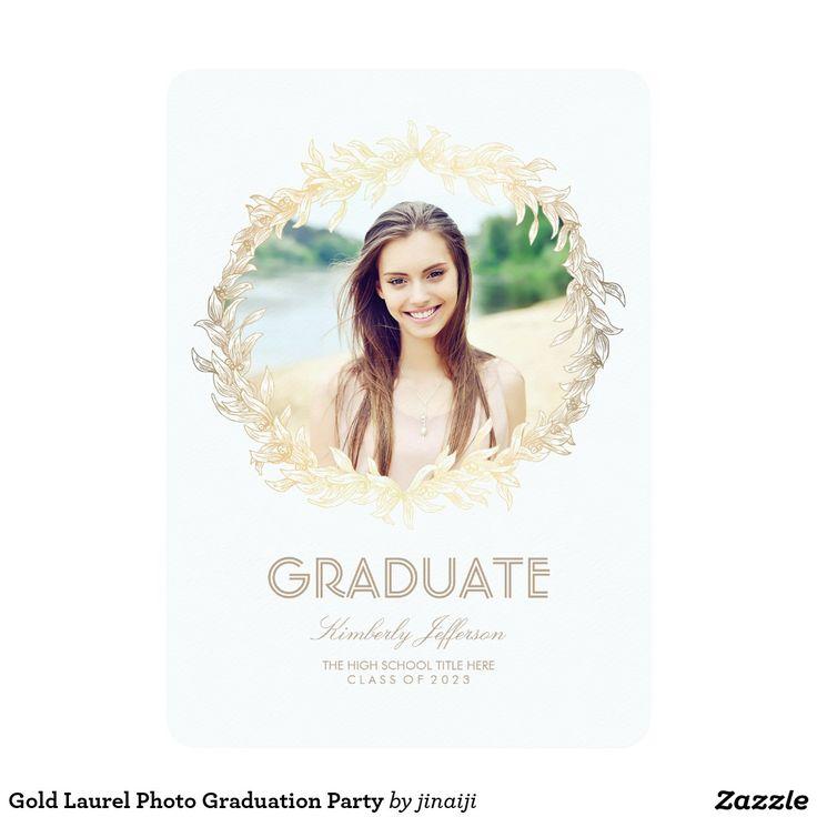 Gold Laurel Photo Graduation Party Card 48