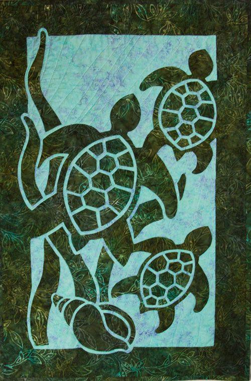 Turtle Beach 2 Fabric Applique Quilt Pattern Hawaiian