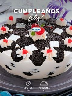 Celebra el cumpleaños de tu persona favorita con un rico Pastel frío Oreo. #recetas #receta #quesophiladelphia #philadelphia #crema #quesocrema #queso #comida #cocinar #cocinamexicana #recetasfáciles #Oreo #Pastel #Recetapastel #postre #postres #tarta #pasteldecumpleaños #cerezas #galletaoreo #cumpleaños