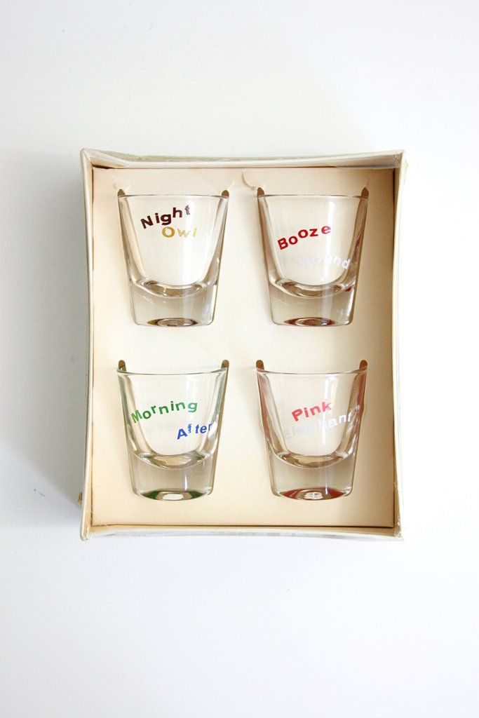 Vintage Kitschy Animals Shot Glasses by Federal Glass / Mid Century Shot Glass Set