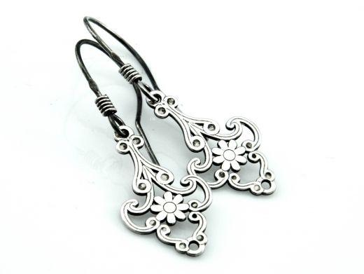 Kolczyki srebrne w stylu retro