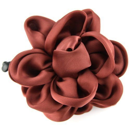 Tuscan Red - Silky Satin - Floral Bow - Banana Hair Clip by Evolatree. $14.99