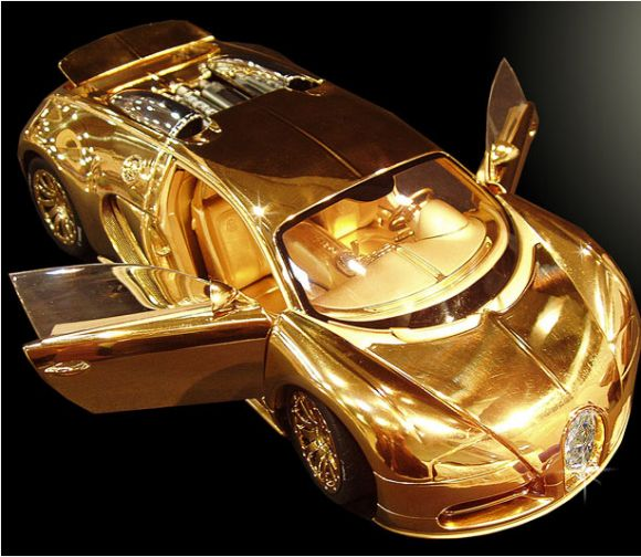 Bugatti Veyron Diamond Word's Most Expensive Car: on sale for £ 2 million  – 2x as much as the real thing. Liverpool-based designer Stuart Hughes took two months to create the intricate 1:18 scale model in partnership with Swiss luxury model car maker Robert Gulpen. Weighing in at 7kg, it has been created with platinum, solid 24ct gold, and a 7.2ct single cut flawless diamond on its front grill. The 10 inch car also boats functional steering and a highly detailed engine. Limited edition of…