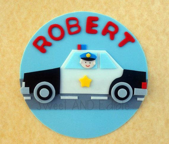 POLICE CAR. Custom Edible CAKE ToPPER by SWEETandEDIBLE on Etsy