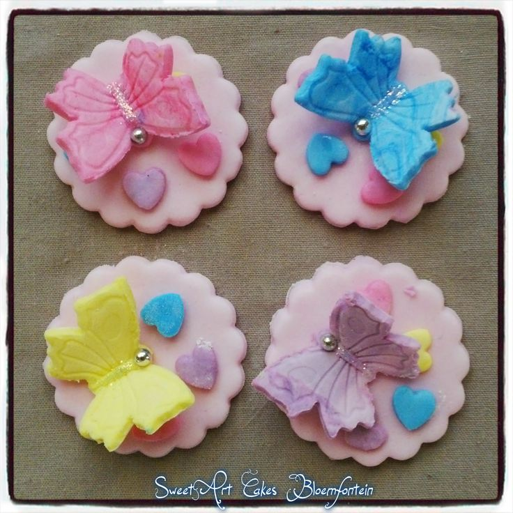 FONDANT BUTTERFLY CUPCAKE TOPPERS For more information or orders Email: sweetartbfn@gmail.com Call/WhatsApp 0712127786; Follow me on Facebook https://www.facebook.com/groups/SweetArtCakesBloemfontein/ Follow me on Pinterest: http://www.pinterest.com/SweetArtCakeBfn/ **CLASSES AVAILABLE** Email: SweetArtClasses@gmail.com