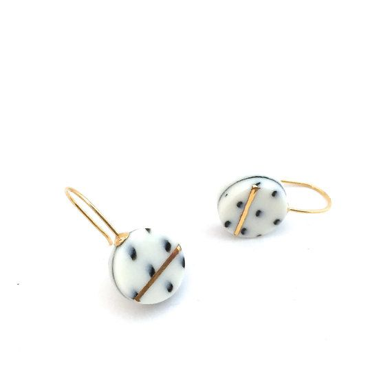 porcelain ceramic earrings porcelain jewelry gold by OeiCeramics