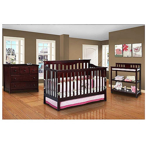 Wal Mart Delta Harlow Convertible Crib Dresser Changing Table And Mattress Bundle Baby Room