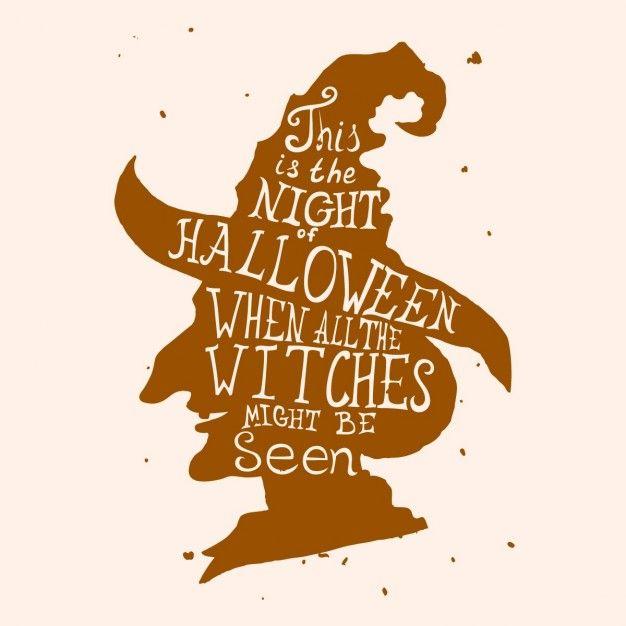 Хэллоуин шероховатый карты с ведьмой в шляпе и цитаты Бесплатные векторы