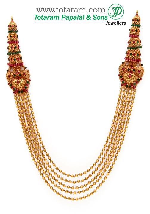 22k Gold Peacock Long Necklace 5 Lines Temple