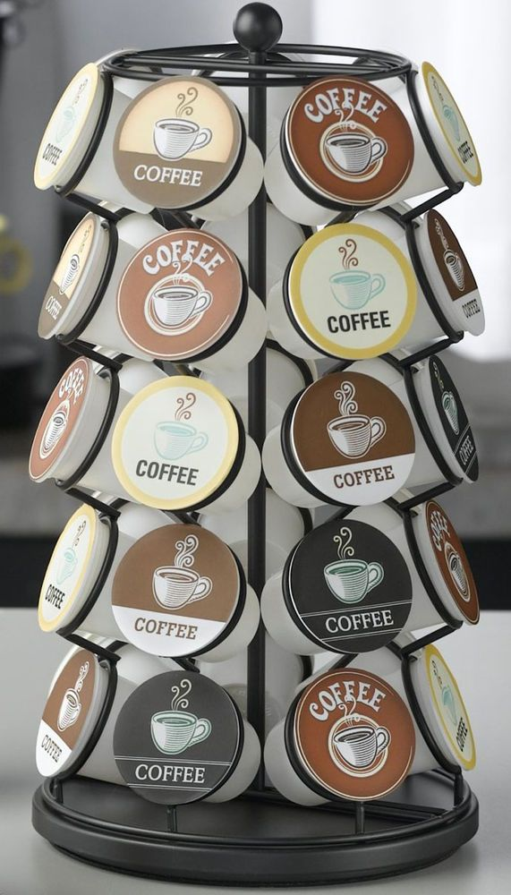 K Cup Holder Coffee 35 Pod Organizer Keurig Storage Carousel Pods Rack Black #Nifty