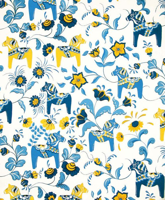 Scandinavian Swedish Dala Horses and Kurbits Flowers on White Fabric with Blue and Yellow Horses on Etsy, $27.61 AUD