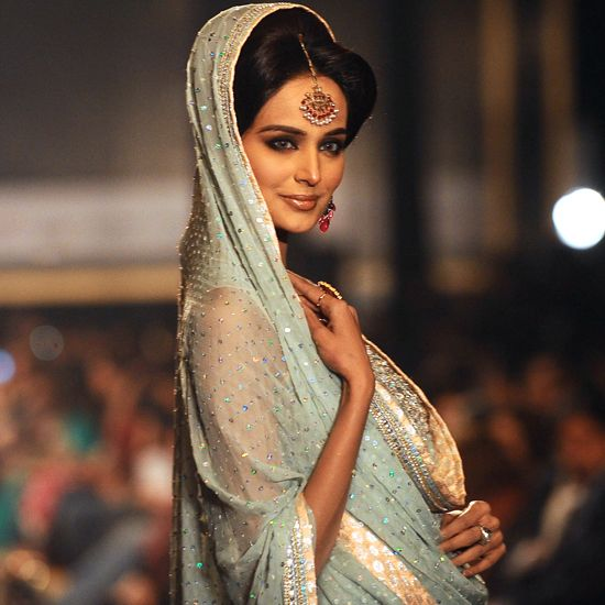 smoky eyes, blue veil, beautiful maang tikka: Bridal by Nomi Ansari http://www.nomiansari.ws/ Pakistan, via @ruchi06