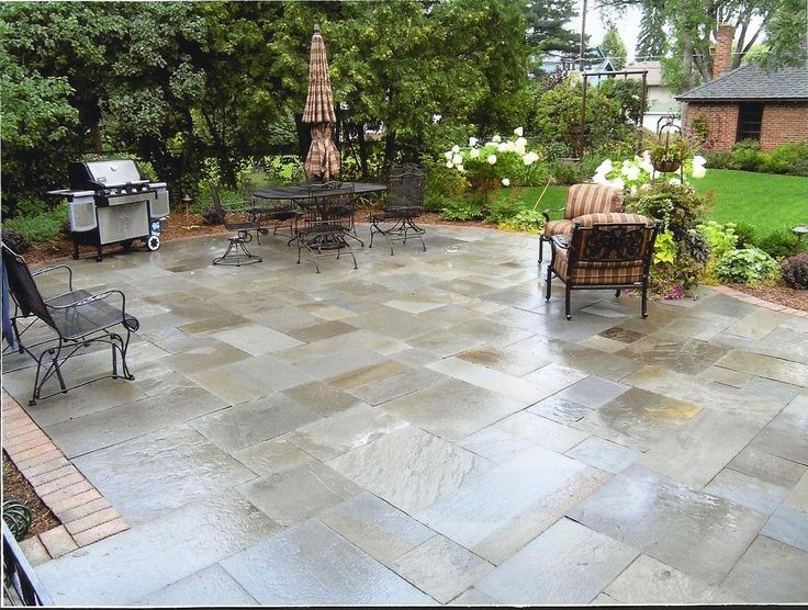 Bluestone patio patterns bluestone patio backyard for Pinterest small patio ideas