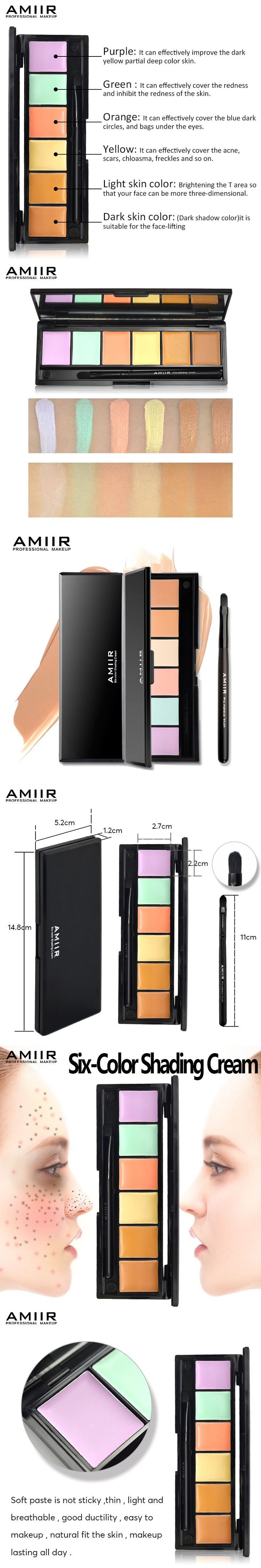 Professional Contouring Concealer Palette With Brushes Makeup Camouflage Facial Concealer Cream AMIIR Brand Corrector Concealer