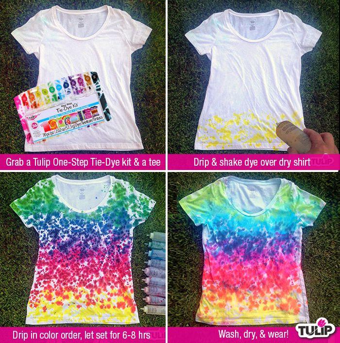 Make a tie dye drip dye shirt with Tulip One-Step Tie-Dye!