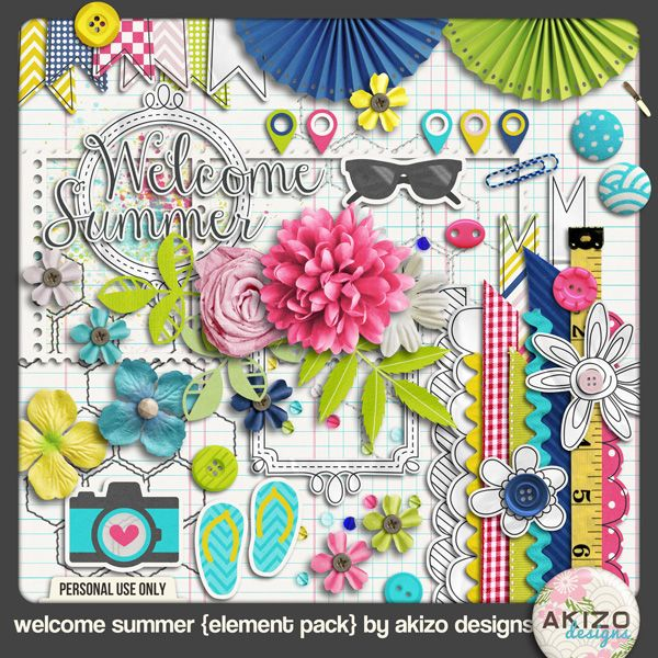 digital scrapbooking::Welcome Summer Elements by akizo designs