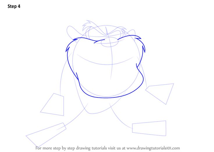 Step by Step How to Draw Tasmanian Devil from Looney Tunes : DrawingTutorials101.com
