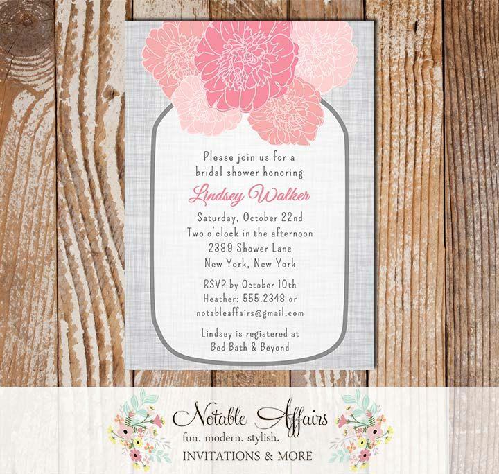 bed bath and beyond wedding invitation kits%0A Rustic Vintage Elegant Modern Gray Linen Floral Pink Peony Mason Jar  Invitation