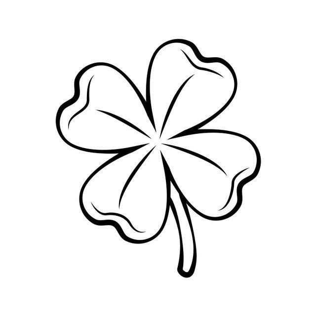 Clover Four Leaf Contour St Patrick S Day Svg Silhouette Etsy Four Leaf Clover Drawing Four Leaf Clover Tattoo Clover Tattoos