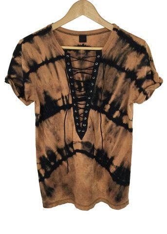 bleach tie dye lace-up shirt                              …