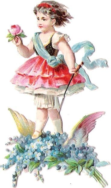 Oblaten Glanzbild scrap die cut chromo Blumen Kind Engel angel Amor Elfe elf Fee