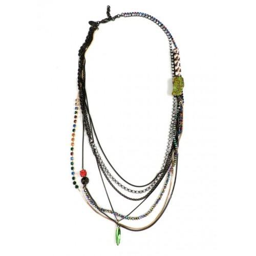 Iosselliani - Rhinestones, Jasper Multiwires Brass Necklace