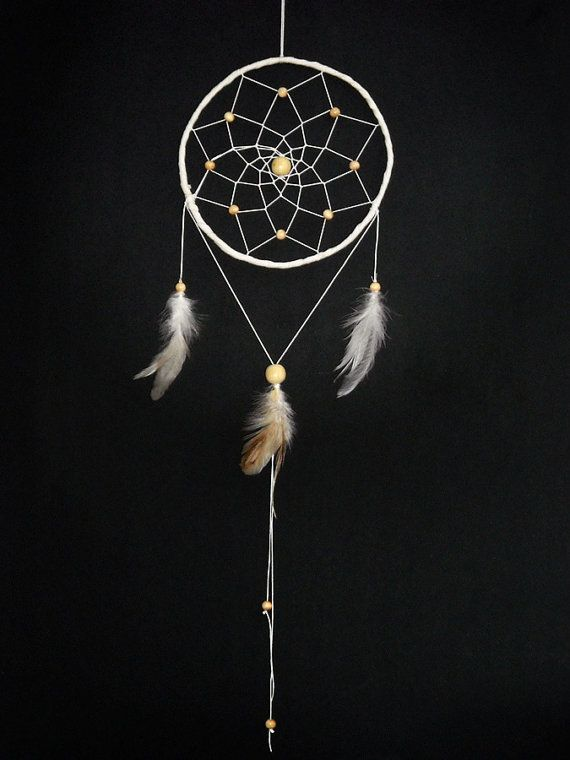 Dream catcher cream white wooden beaded white feathers by wincsike, $39.00