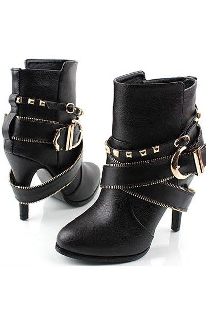Chic Studded High-heeled Boots with Zipped Ankle Strap
