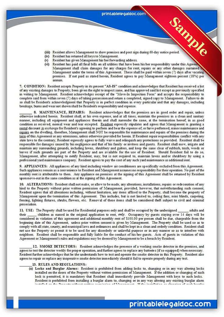 Printable Sample Standard Rental Agreement Form  Printable Sample