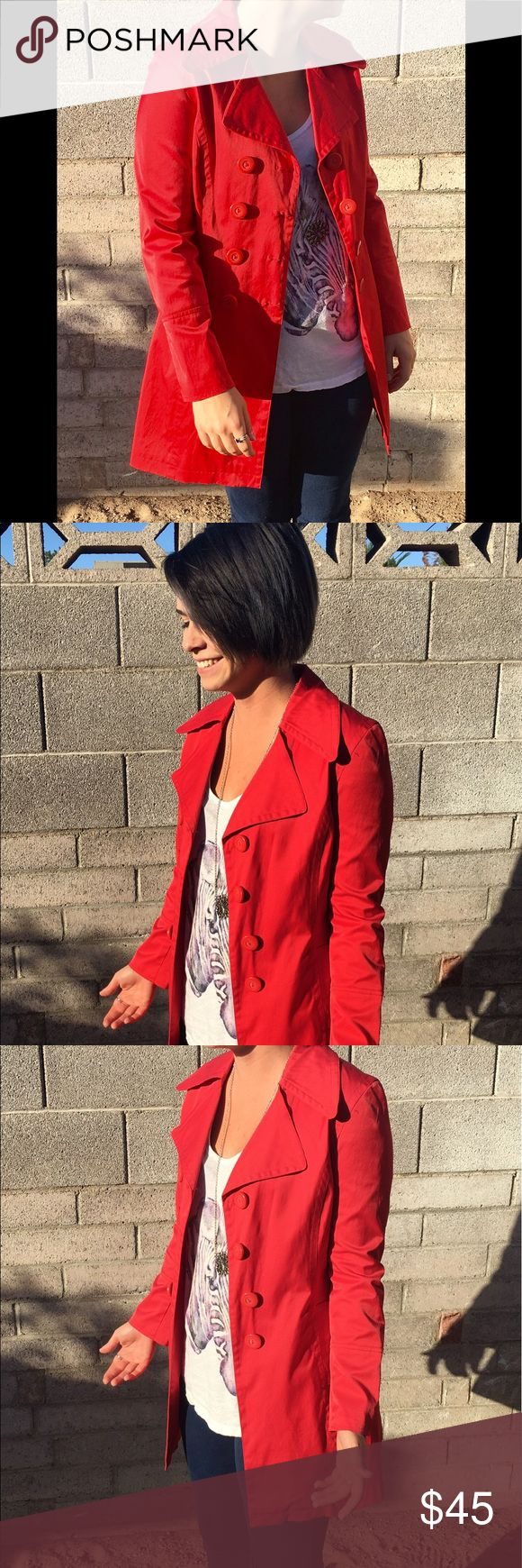Selling this 00s Red Windbreaker Trench on Poshmark! My username is: vintagefactory. #shopmycloset #poshmark #fashion #shopping #style #forsale #Jackets & Blazers