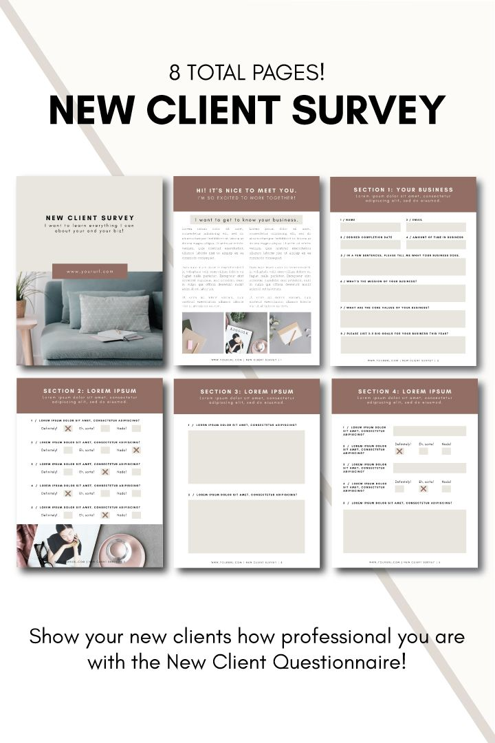 New Client Survey Tiny Pine Creative In 2020 Survey Template Client Questionnaire Workbook Template