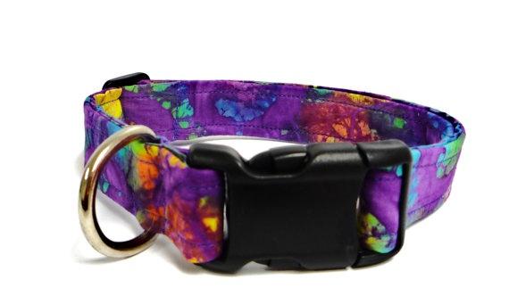 Purple Rainbow Batik Collar  1  Med/Large by MuttsandMittens: Muttsandmitten, Rainbows Batik, Purple Rainbows, Dogs Stuff, Batik Collars, Sweet Stuff, Med Large