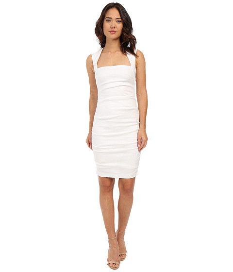 aa94db58098 Nicole Miller Stretch Linen Cutout Back Dress