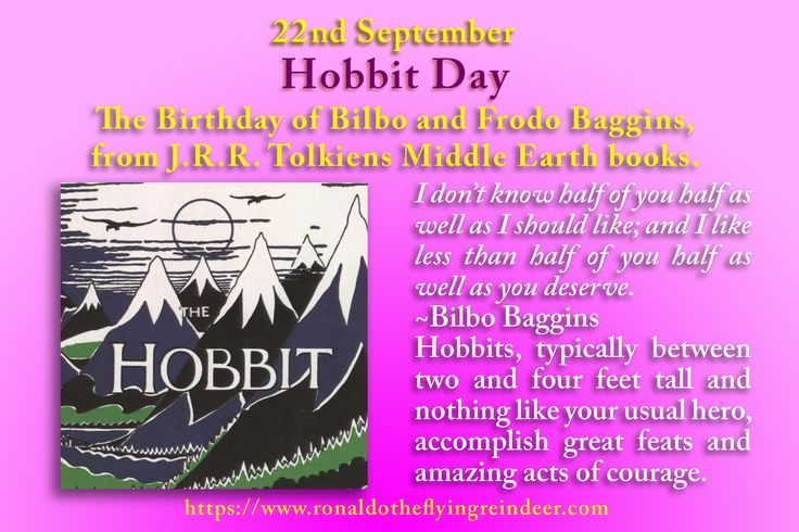 #today 22nd Sept is #HobbitDay Tolkien once said that the Shire calendar is ahead by about ten days depending on the month. A suggested alternative date by hardcore fans is September 14th. Although the day was not officially designated until 1978 and has had many names and designations, it has been celebrated since 1973, shortly after J.R.R. Tolkien died on September 2nd of that year. #CentenariansDay #CarFreeDay #Hobbit  #hobbits #lotr #LordOfTheRings #OneRing #JRRTolkien