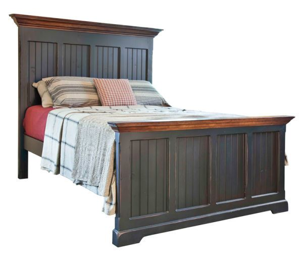 Barnboard Farmhouse Bed: This absolutely stunning farmhouse bed will look wonderful in any bedroom. It features a frame and panel barn board headboard and footboard finished with an elegant crown molding. Solid and substantial this farmhouse bed is available in 14 antique paint colors and six stains will definitely complete that country bedroom you have been wanting for years.