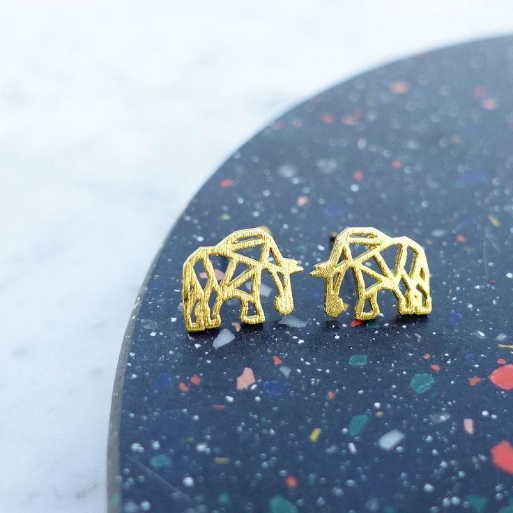 Éléphant Origami Gold Earrings - Majolie   - 1