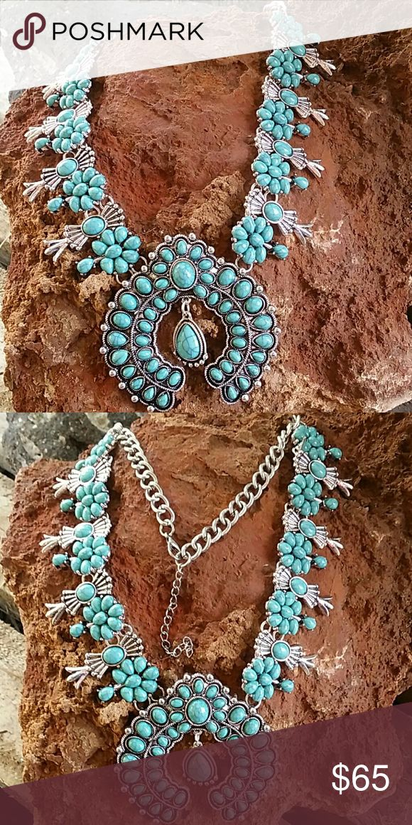 "Squash Blossom Necklace Stunning Native American inspired necklace. Silver tone & faux turquoise. This necklace has a nice weight to it.  23.5"" long w/3"" extender  Western,  Cowgirl, Boho, Bohemian, Hippie ■PRICE FIRM UNLESS BUNDLED  ■ I DO NOT TRADE Boutique  Jewelry Necklaces"