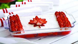 Canadian Day Dessert -cake or Jello with whip cream and strawberries