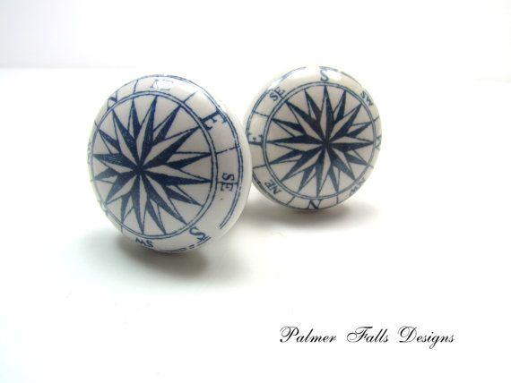 Ceramic Rose Compass Drawer Pull Cabinet By PalmerFallsDesigns