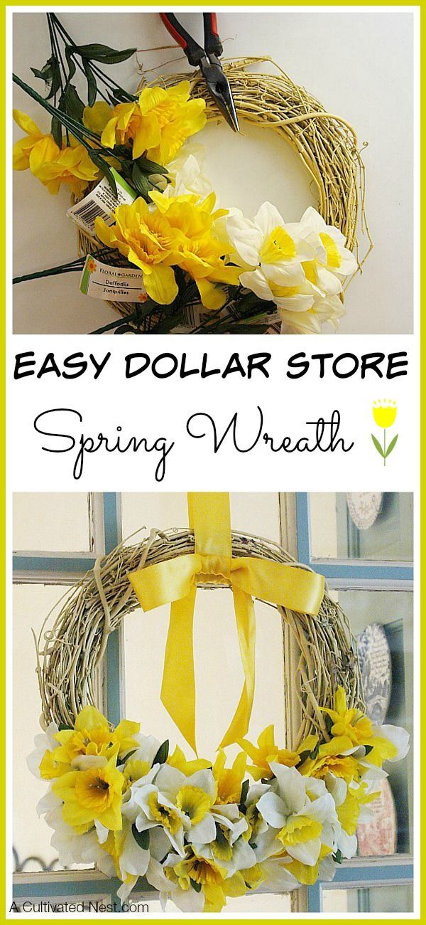 Easy Dollar Store Spring Wreath - Really easy to make with Dollar Tree stems!